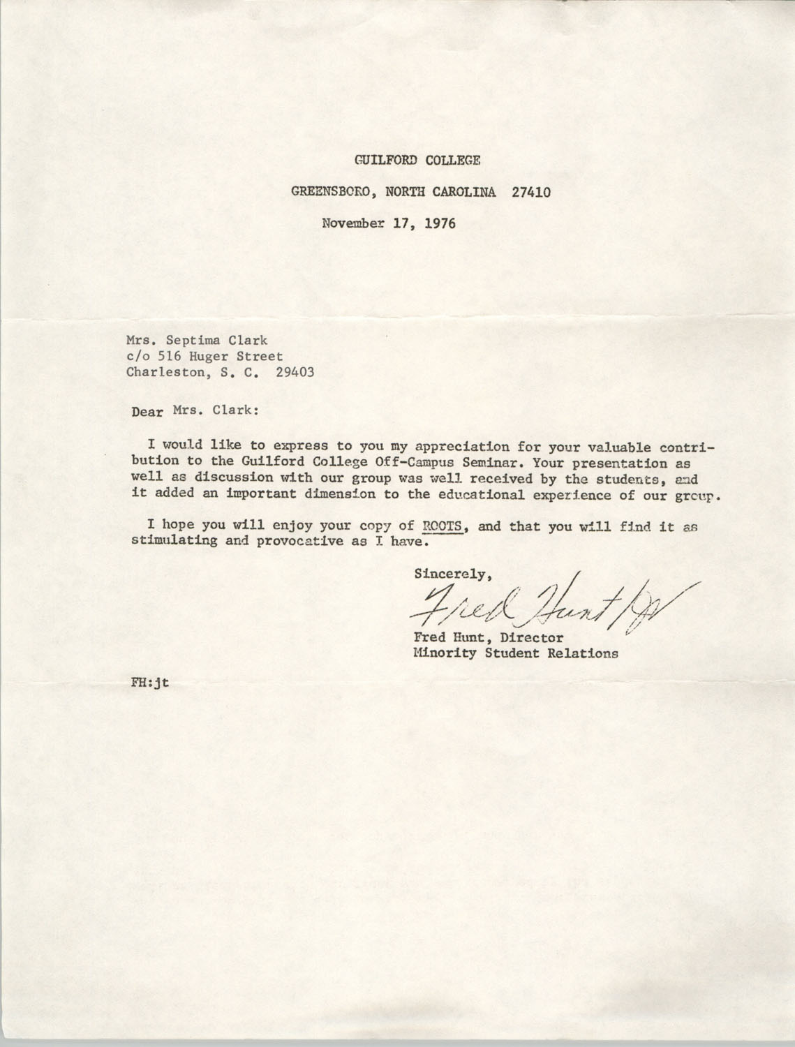 Letter from Fred Hunt to Septima P. Clark, November 17, 1976