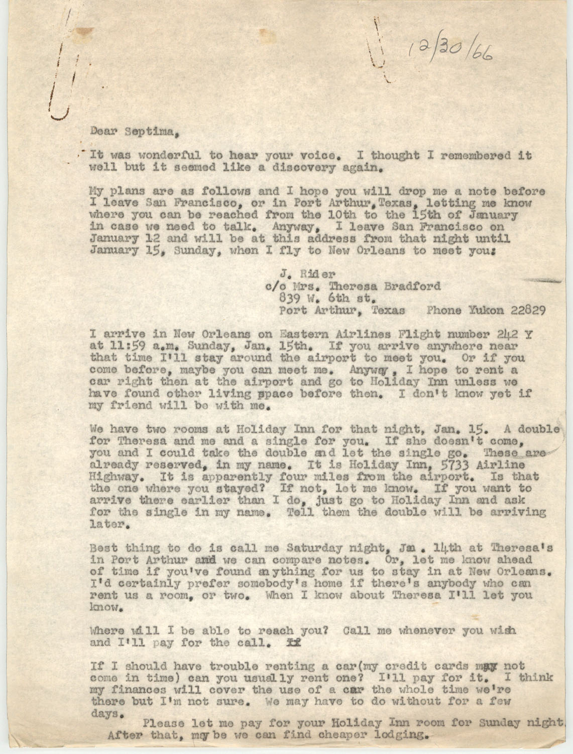 Letter from Septima P. Clark to Josephine Rider, December 30, 1966