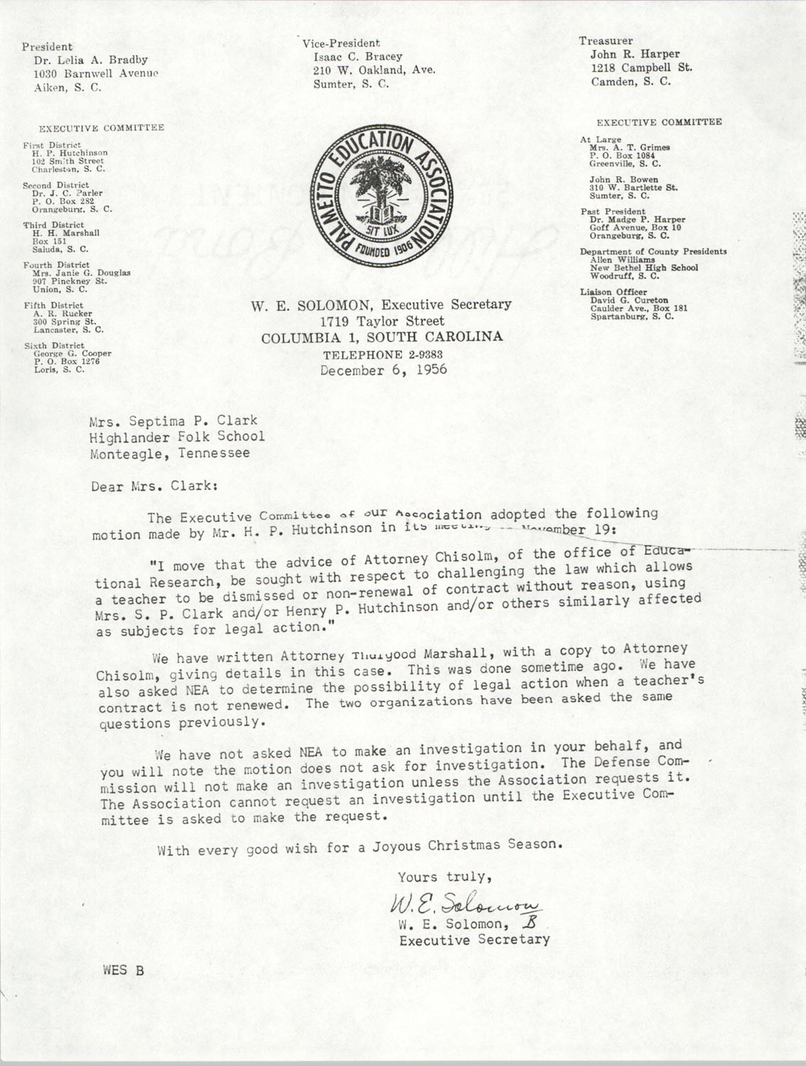 Letter from W. E. Solomon to Septima P. Clark, December 6, 1956