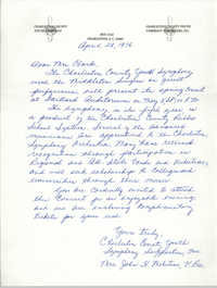 Letter from Charleston County Youth Symphony to Septima P. Clark, April 28, 1976