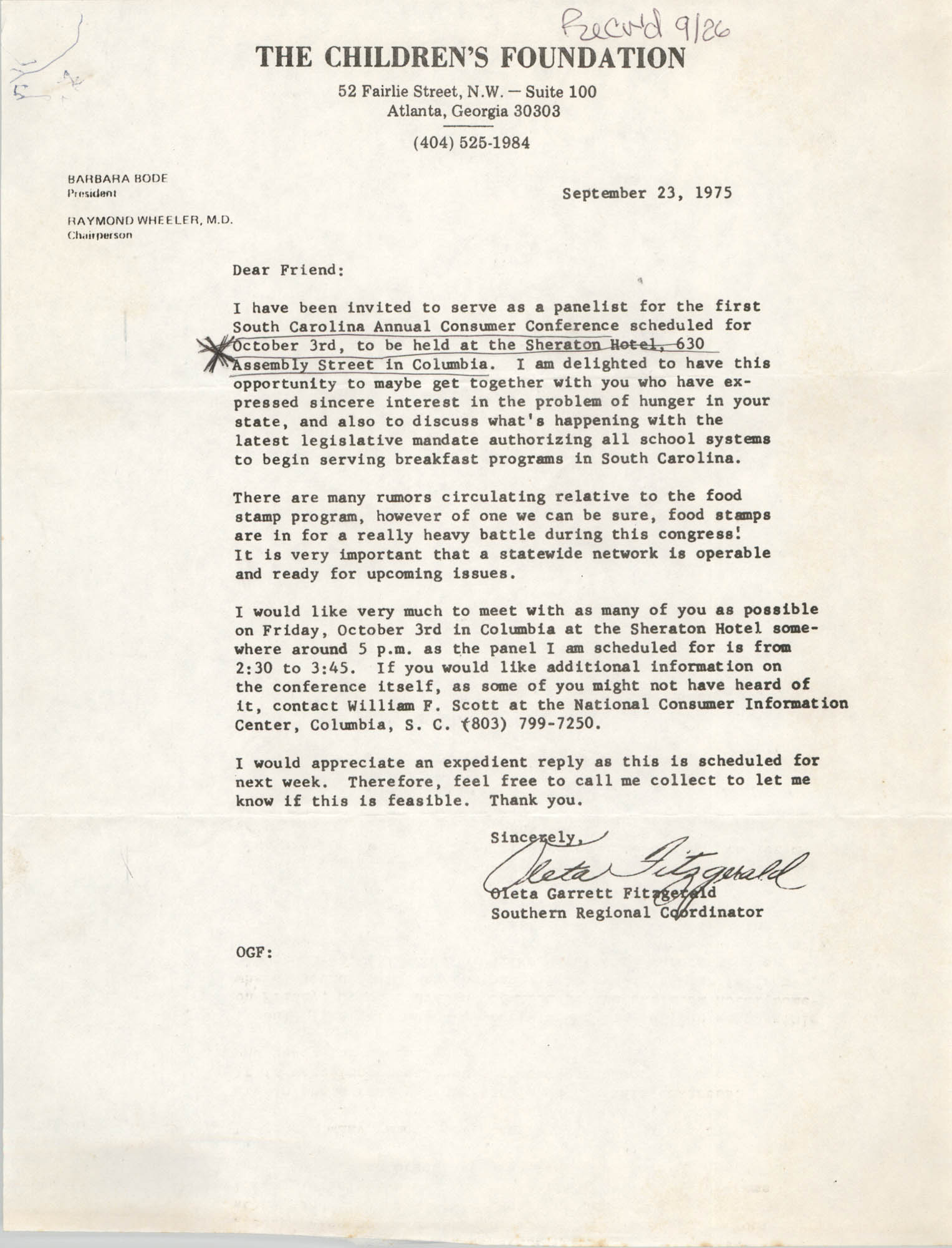 Letter from Oleta Garrett Fitzgerald, September 23, 1975