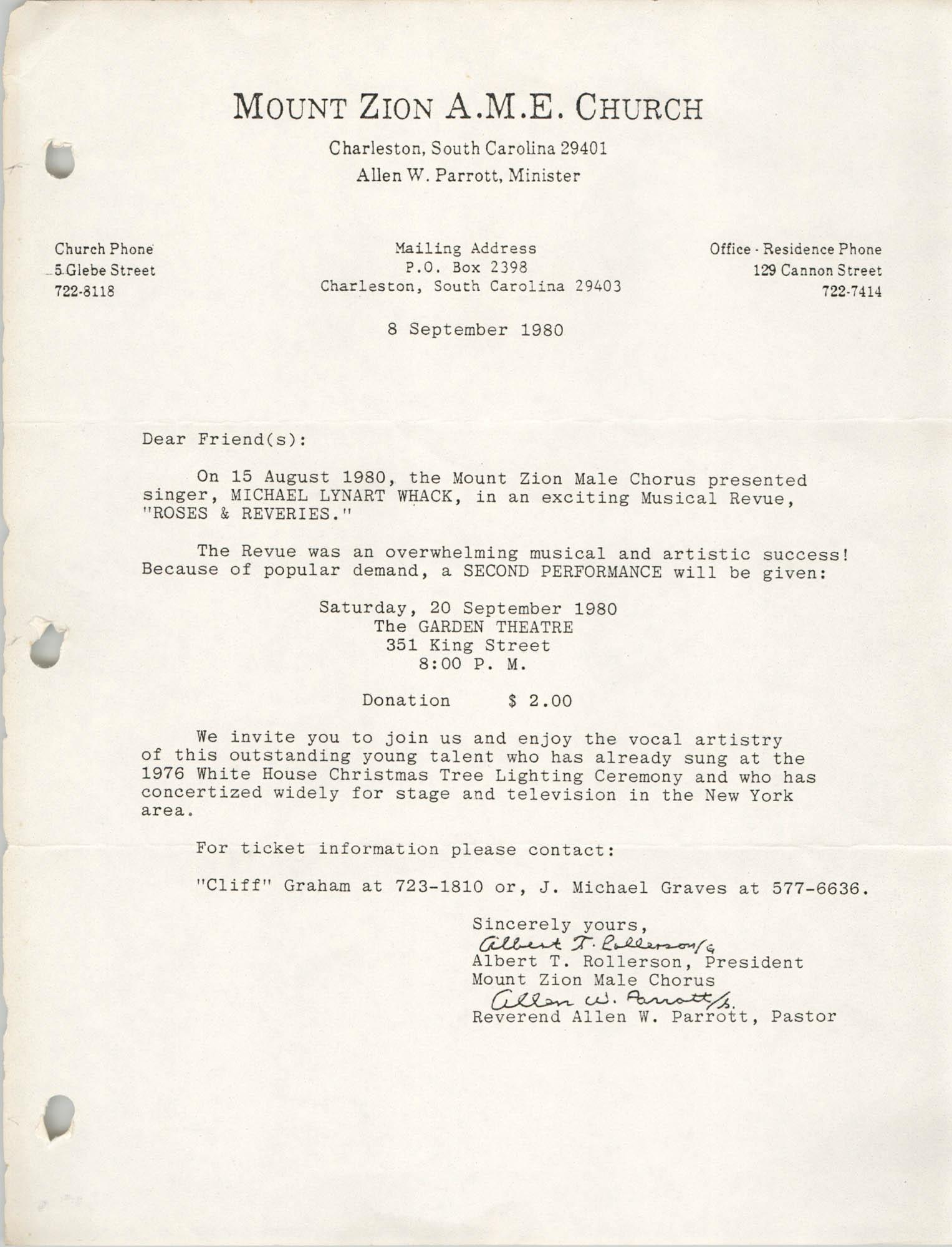 Letter from Albert T. Rollerson and Allen W. Parrott, September 8, 1980
