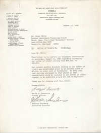 Letter from Betty H. Generette and William Saunders to Serge White, August 13, 1980
