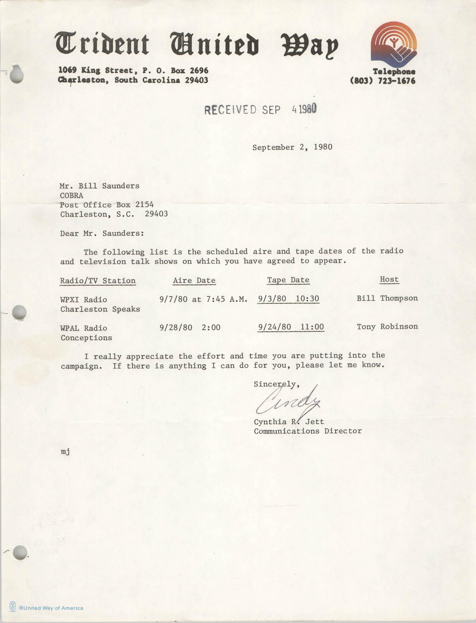 Letter from Cynthia R. Jett to Bill Saunders, September 2, 1980