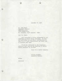 Letter from William Saunders to John Evans, December 27, 1978