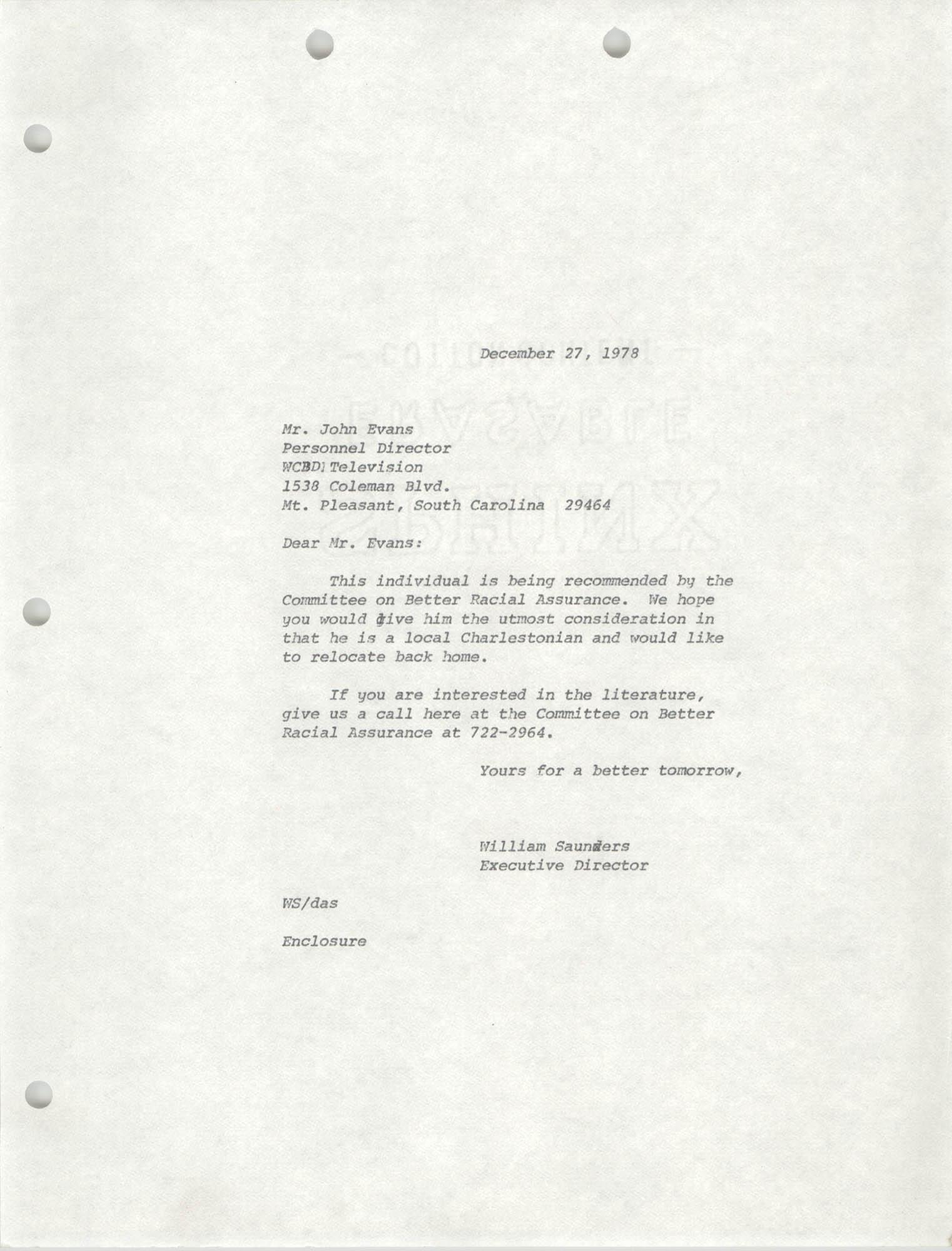 Letter from William Saunders to John Evans, December 27, 1978