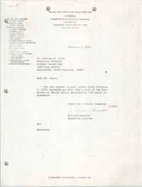 Letter from William Saunders to Charles W. Fruit, February 7, 1979