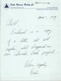 Letter from Duke Warren to William Saunders, March 1, 1979