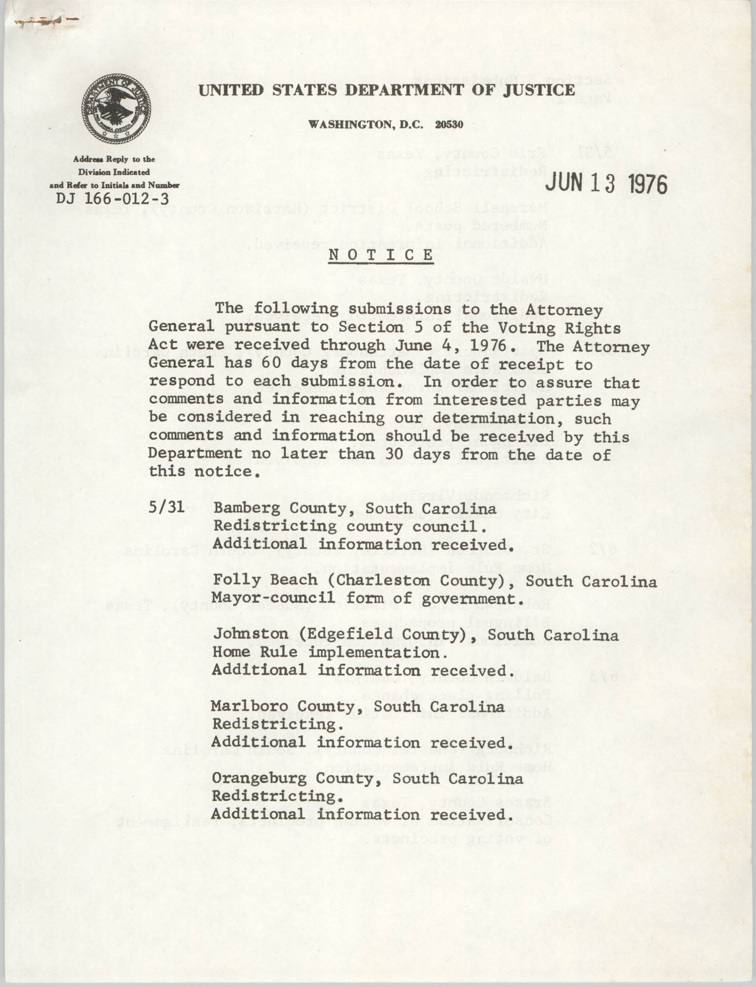 United States Department of Justice Notice, June 13, 1976