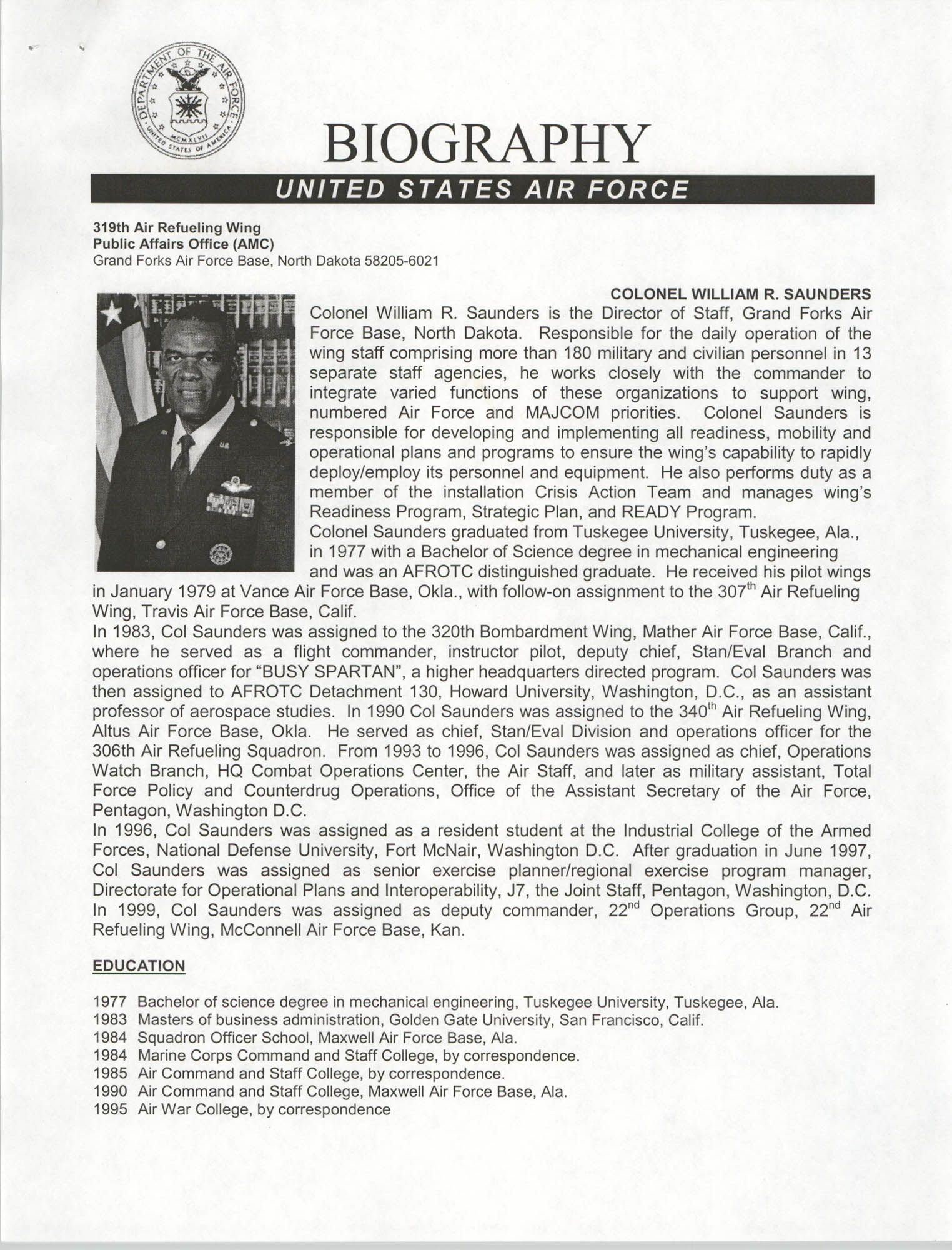Biography, United States Air Force, Colonel William R. Saunders