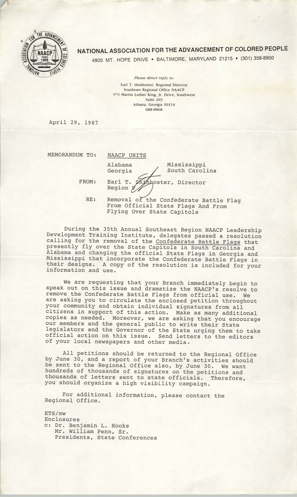 NAACP Memorandum, April 29, 1987