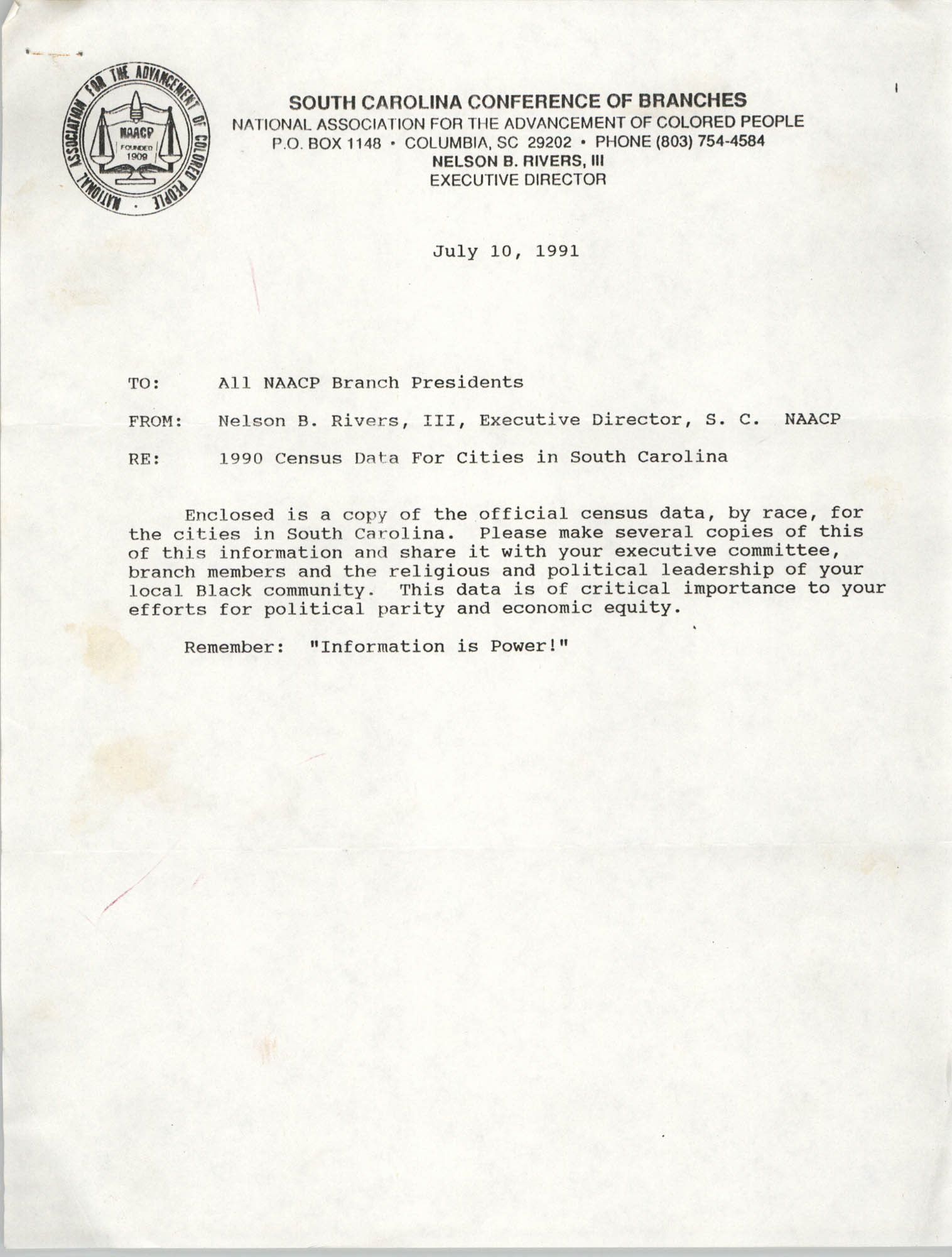 South Carolina Branch of the NAACP Memorandum, July 10, 1991