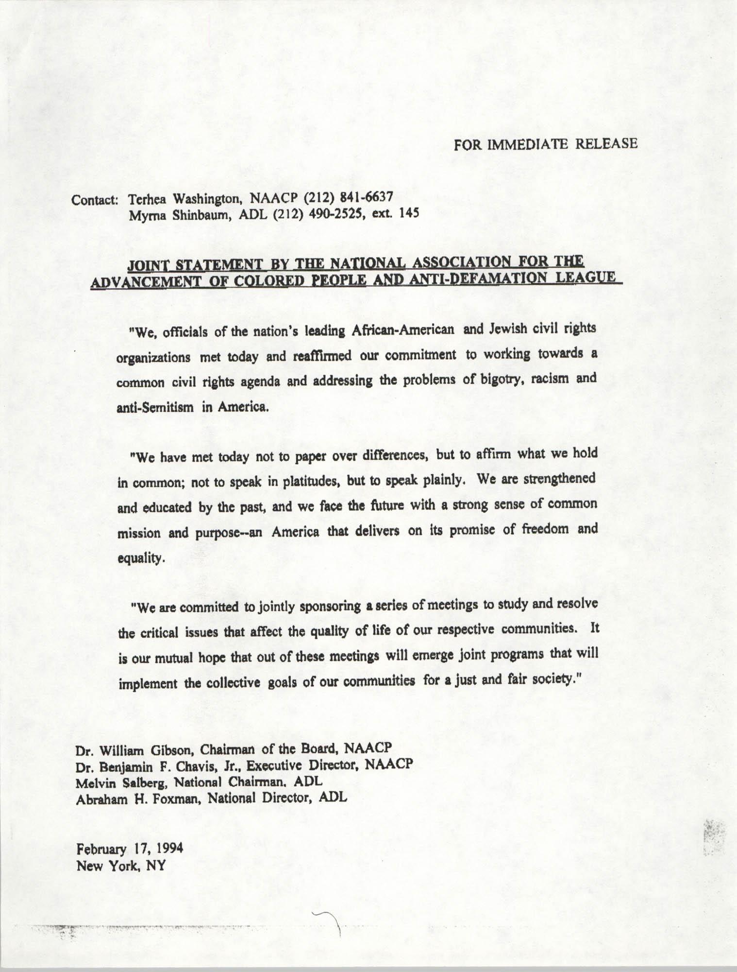 NAACP Press Release, February 17, 1994
