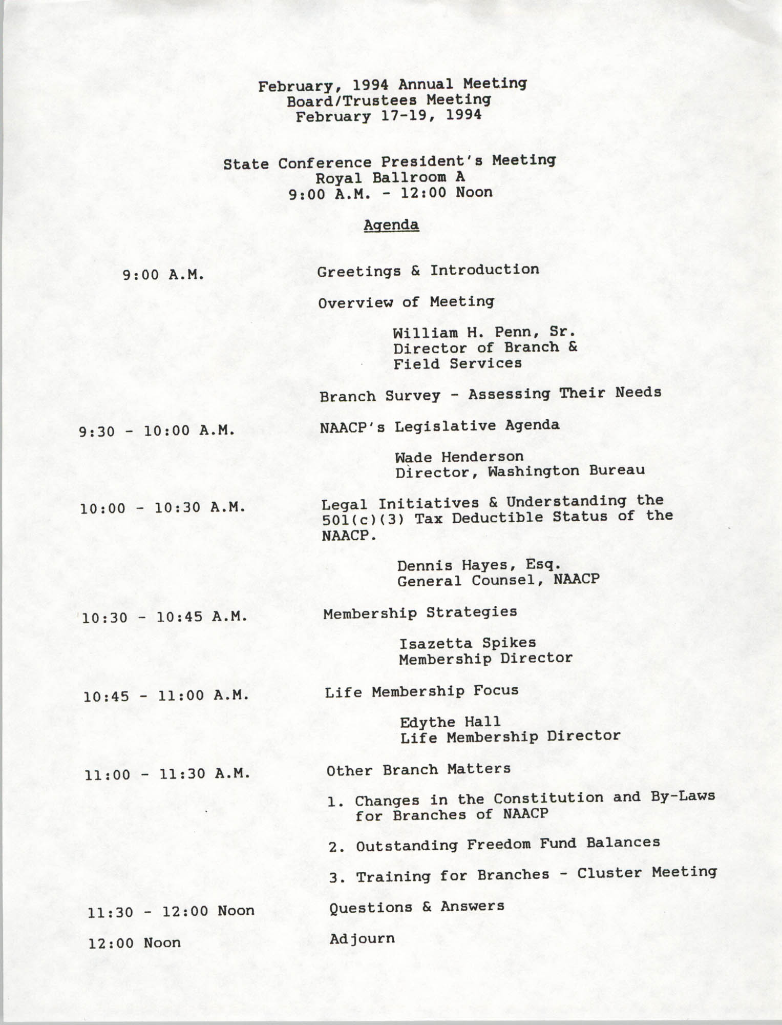 NAACP State Conference President's Meeting Agenda, February 17-19, 1994