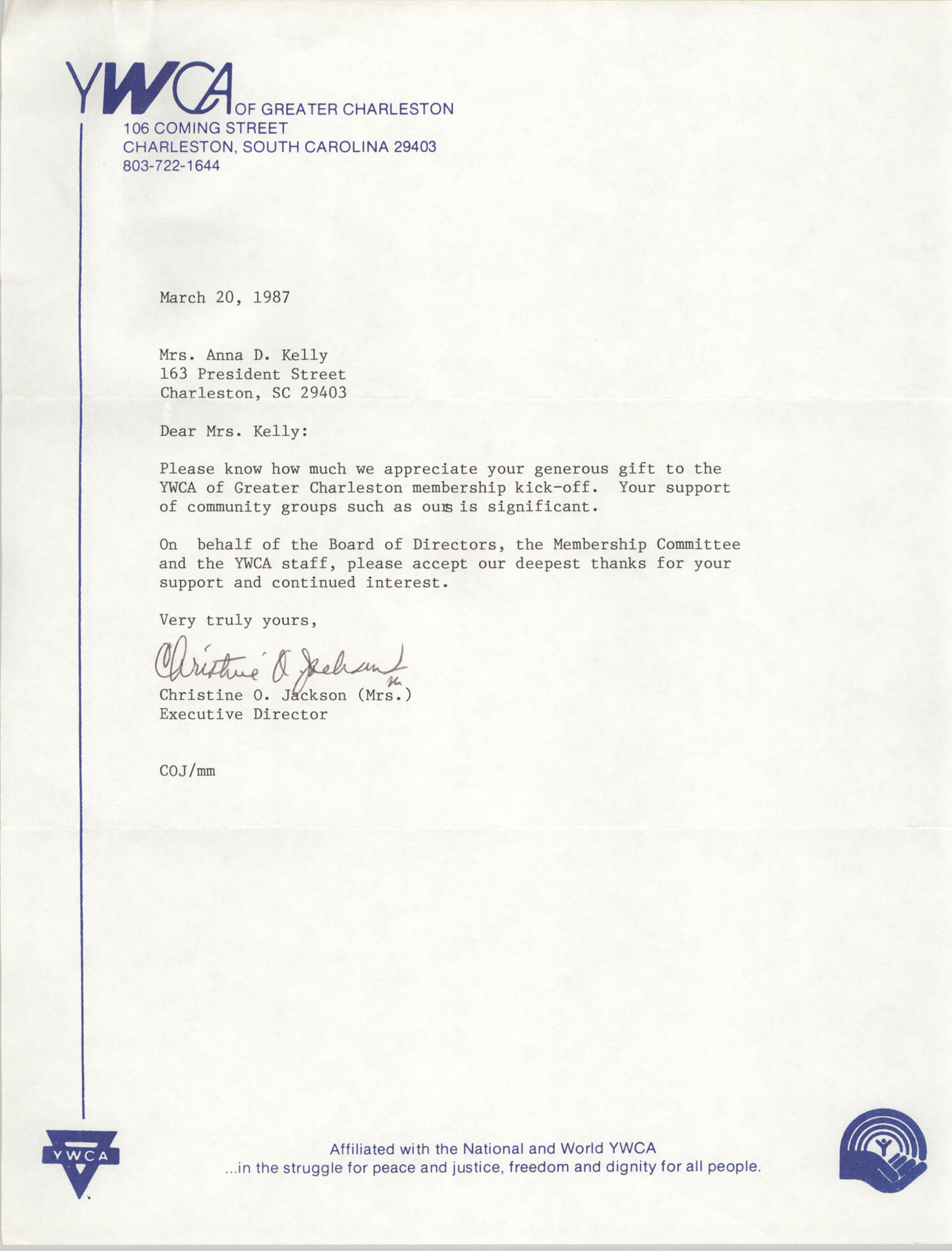 Letter from Christine O. Jackson to Anna D. Kelly, March 20, 1987