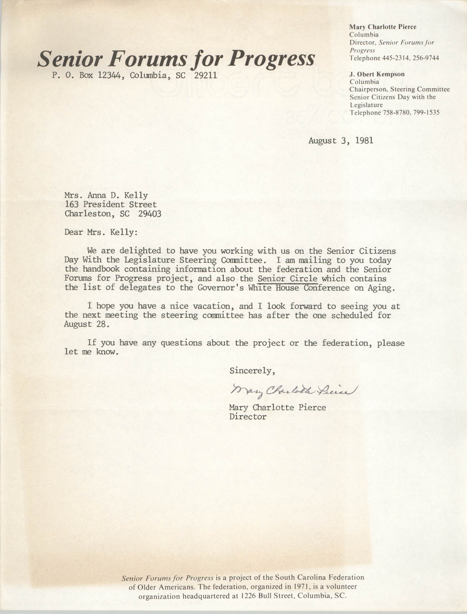 Letter from Mary Charlotte Pierce to Anna D. Kelly, August 3, 1981
