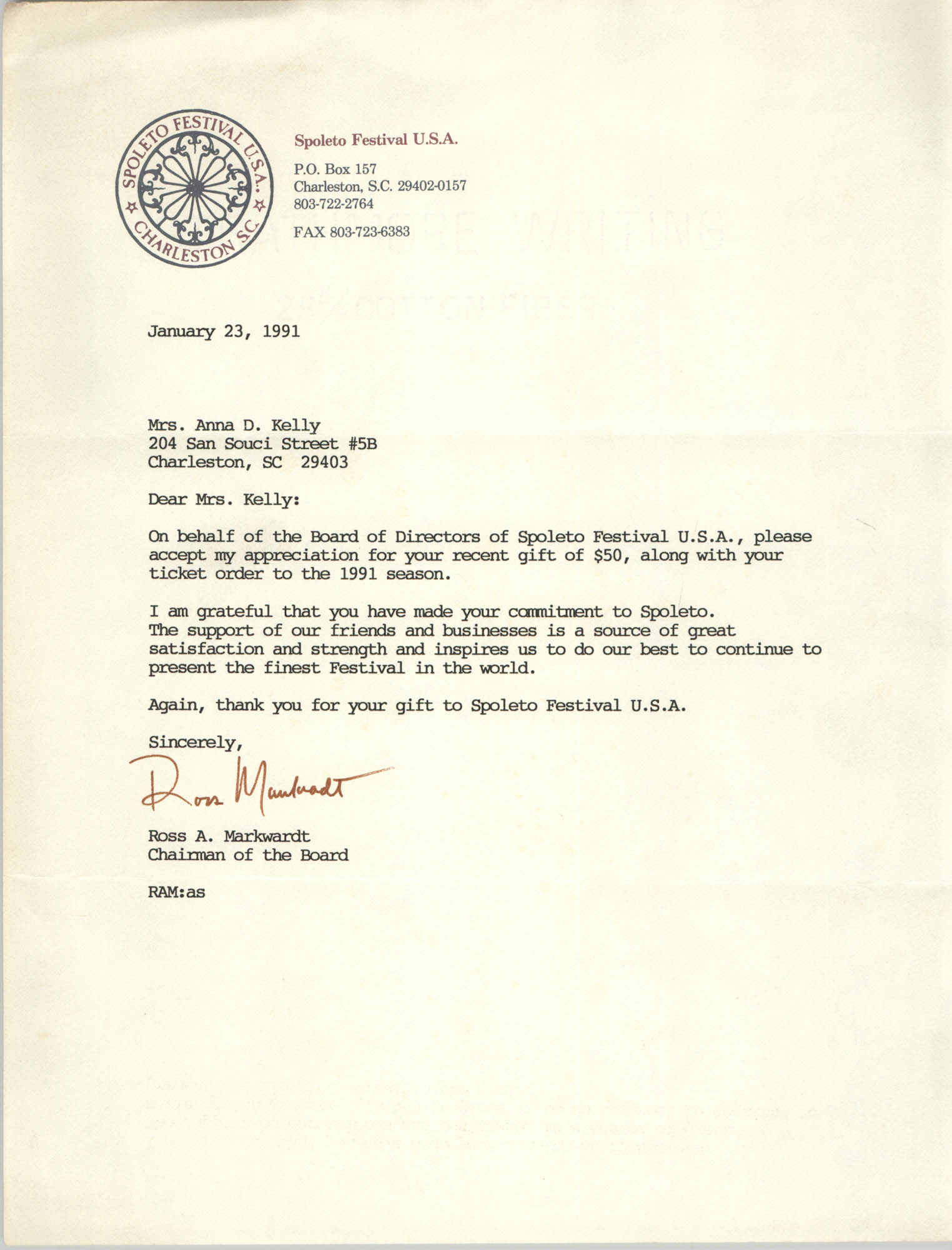 Letter from Ross A. Markwardt to Anna D. Kelly, January 23, 1991