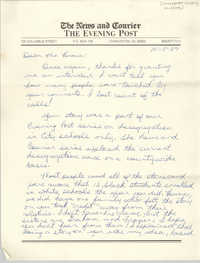 Letter from Kevin Morgan to Millicent Brown, October 5, 1987