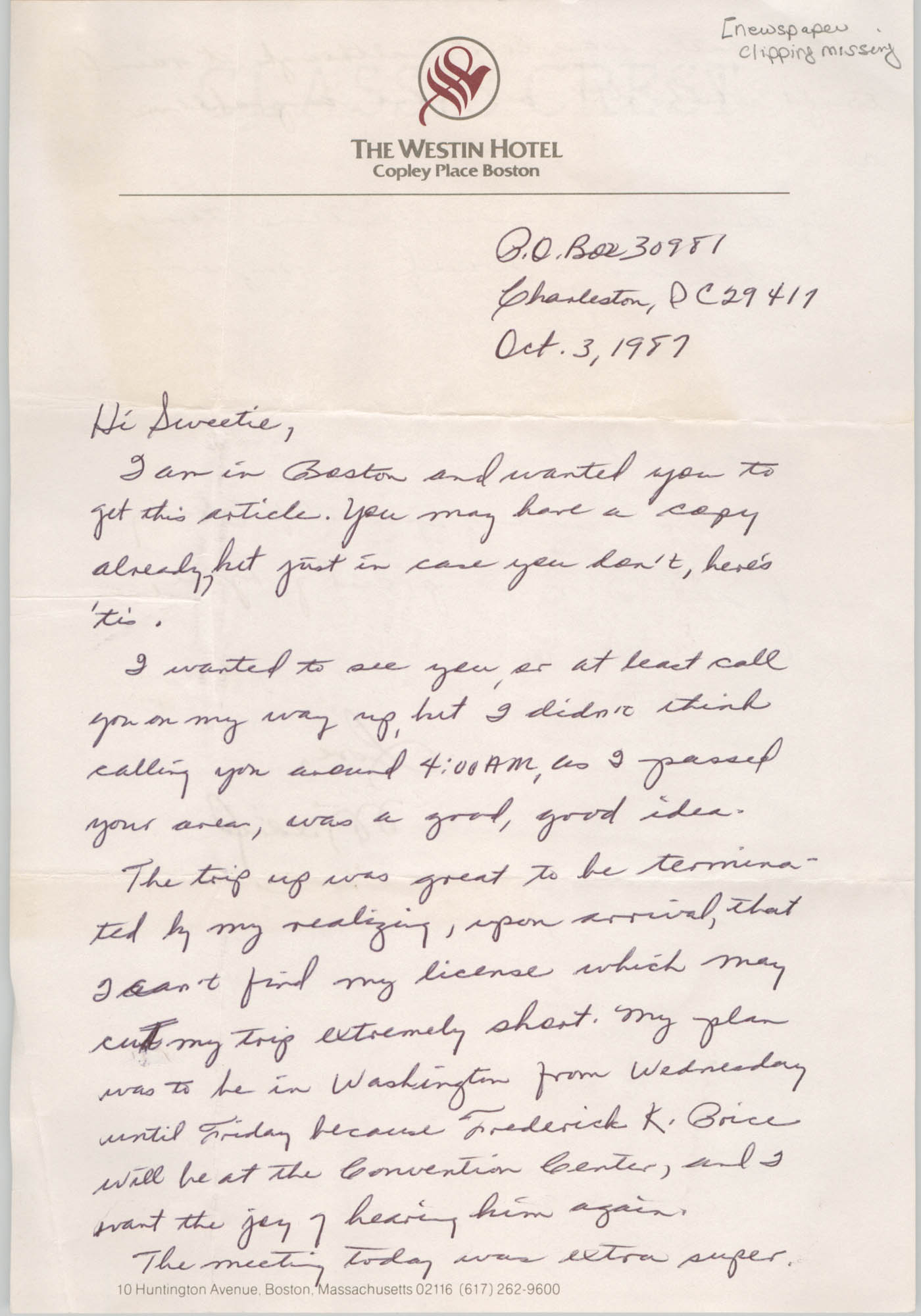 Letter from Mildred Carr to Millicent Brown, October 3, 1987