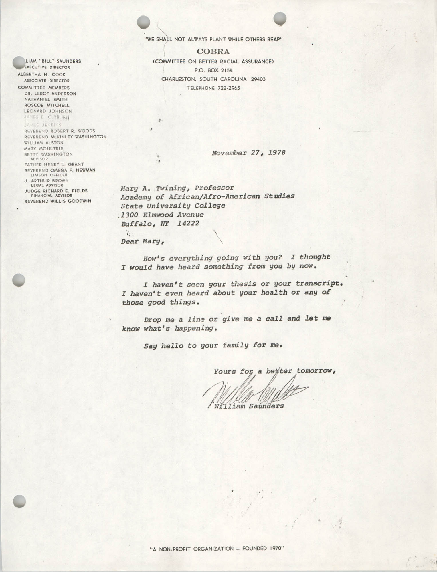 Letter from William Saunders to Mary A. Twining, November 27, 1978