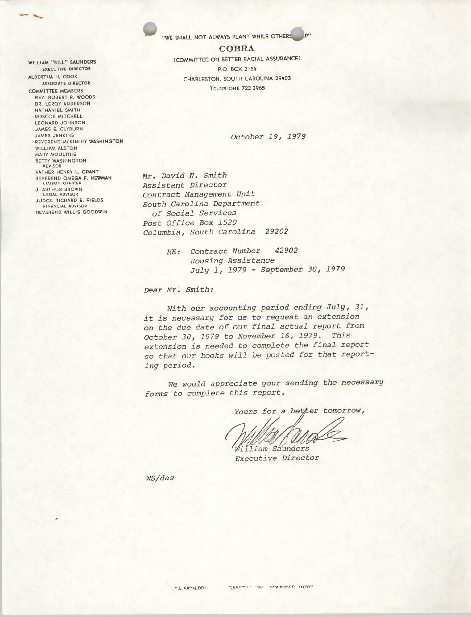 Letter from William Saunders to David N. Smith, October 19, 1979