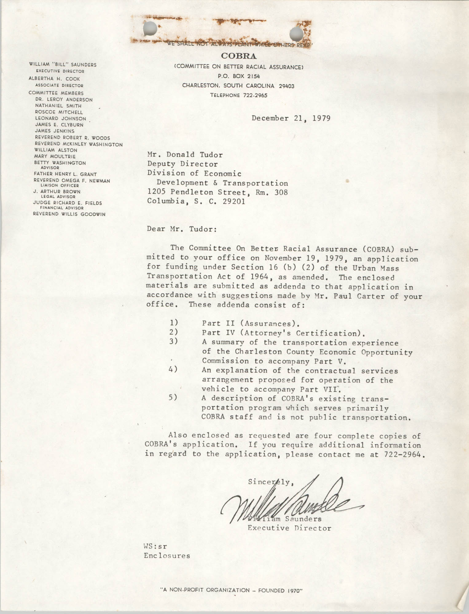 Letter from William Saunders to Donald Tudor, December 21, 1979