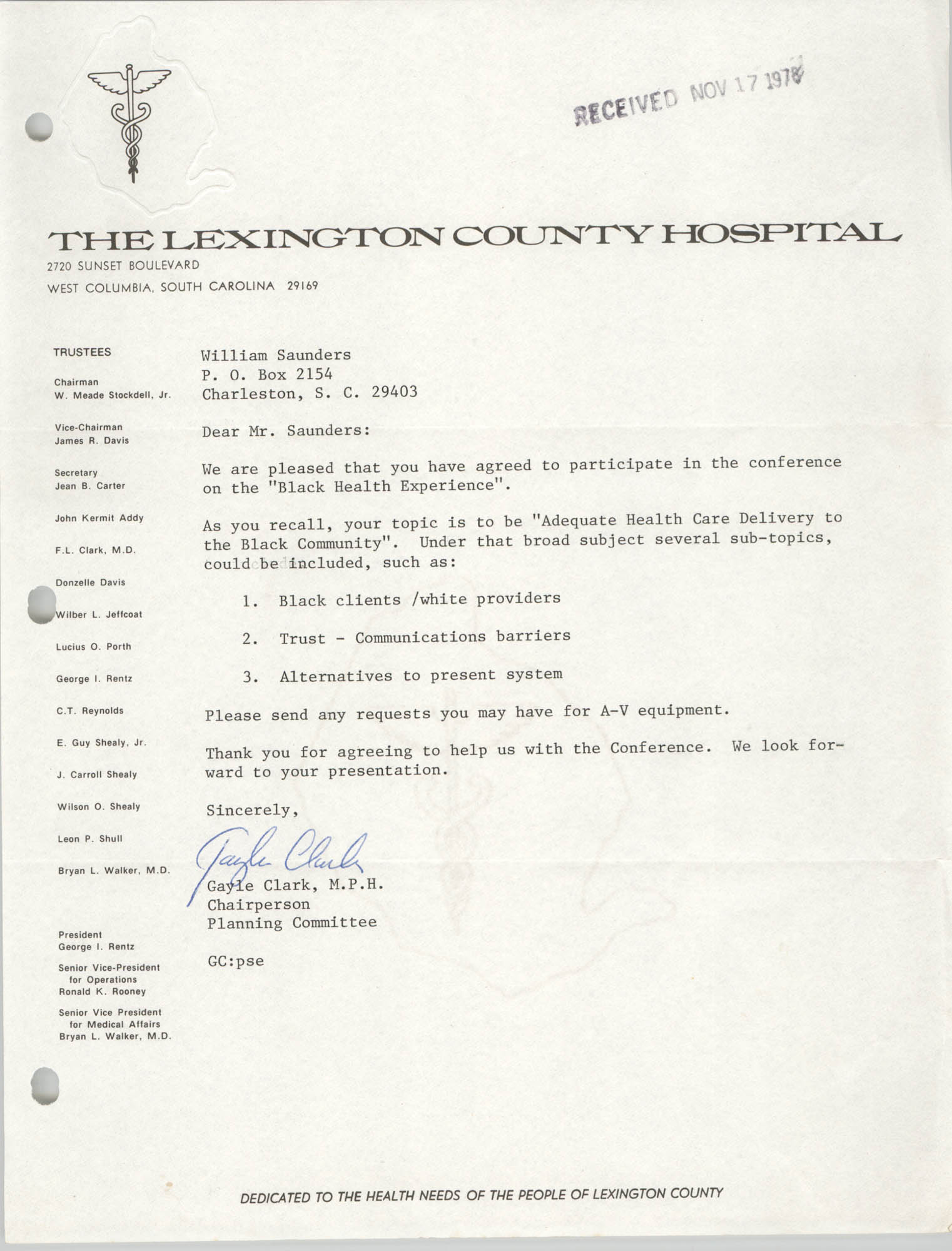 Letter from Gayle Clark to William Saunders, November 17, 1978