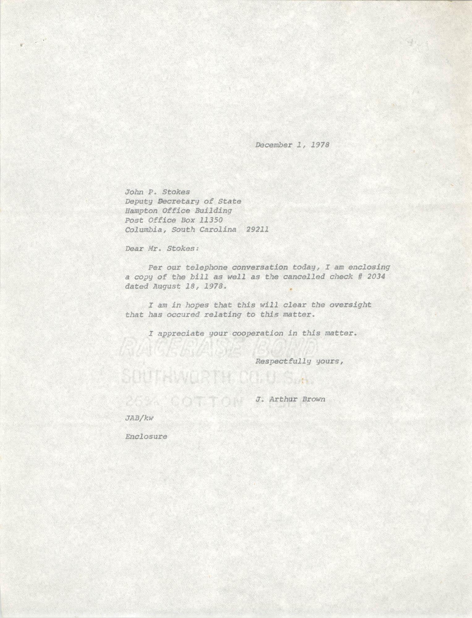 Letter from J. Arthur Brown to John P. Stokes, December 1, 1978