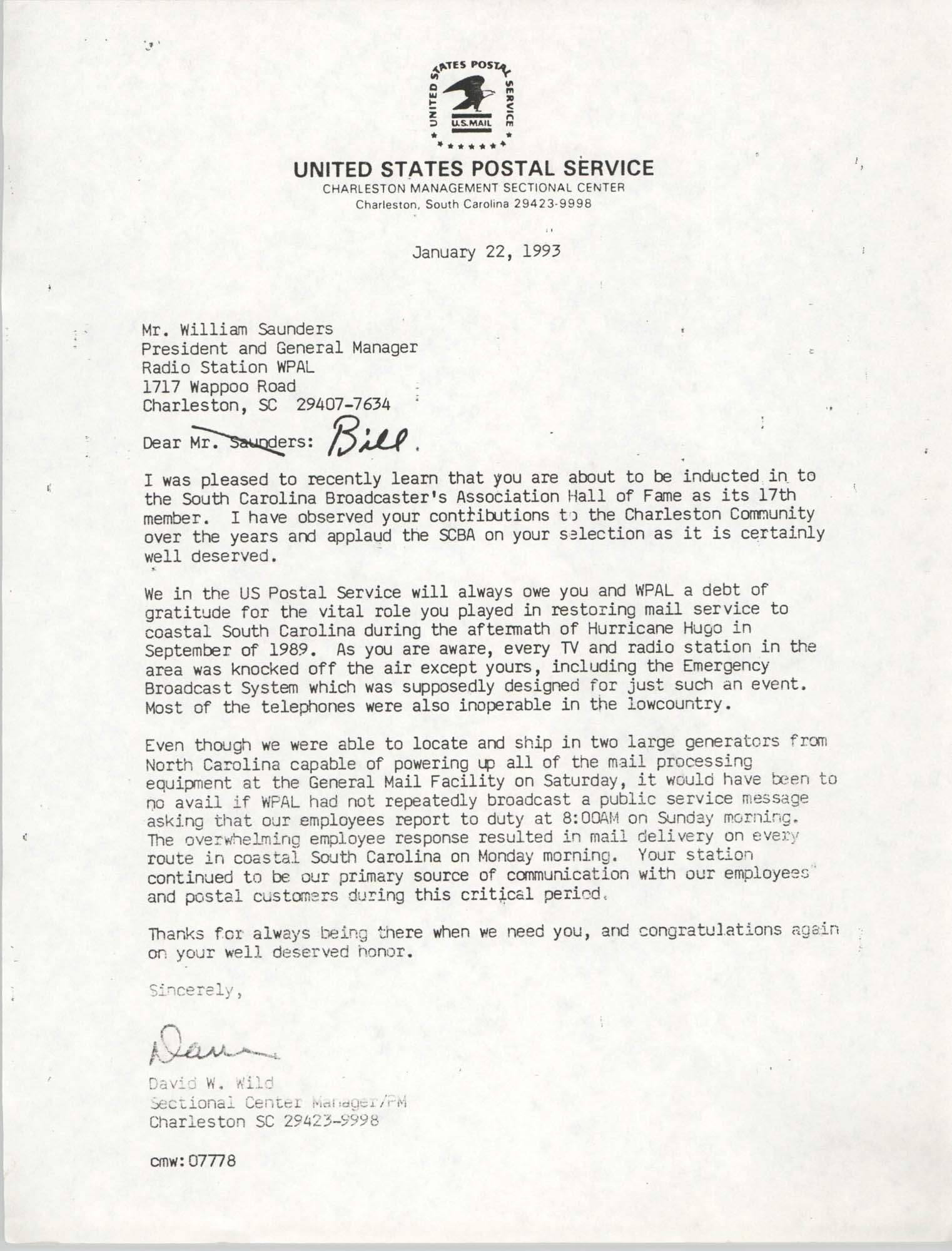 Letter from David W. Wild to William Saunders, Janary 22, 1993