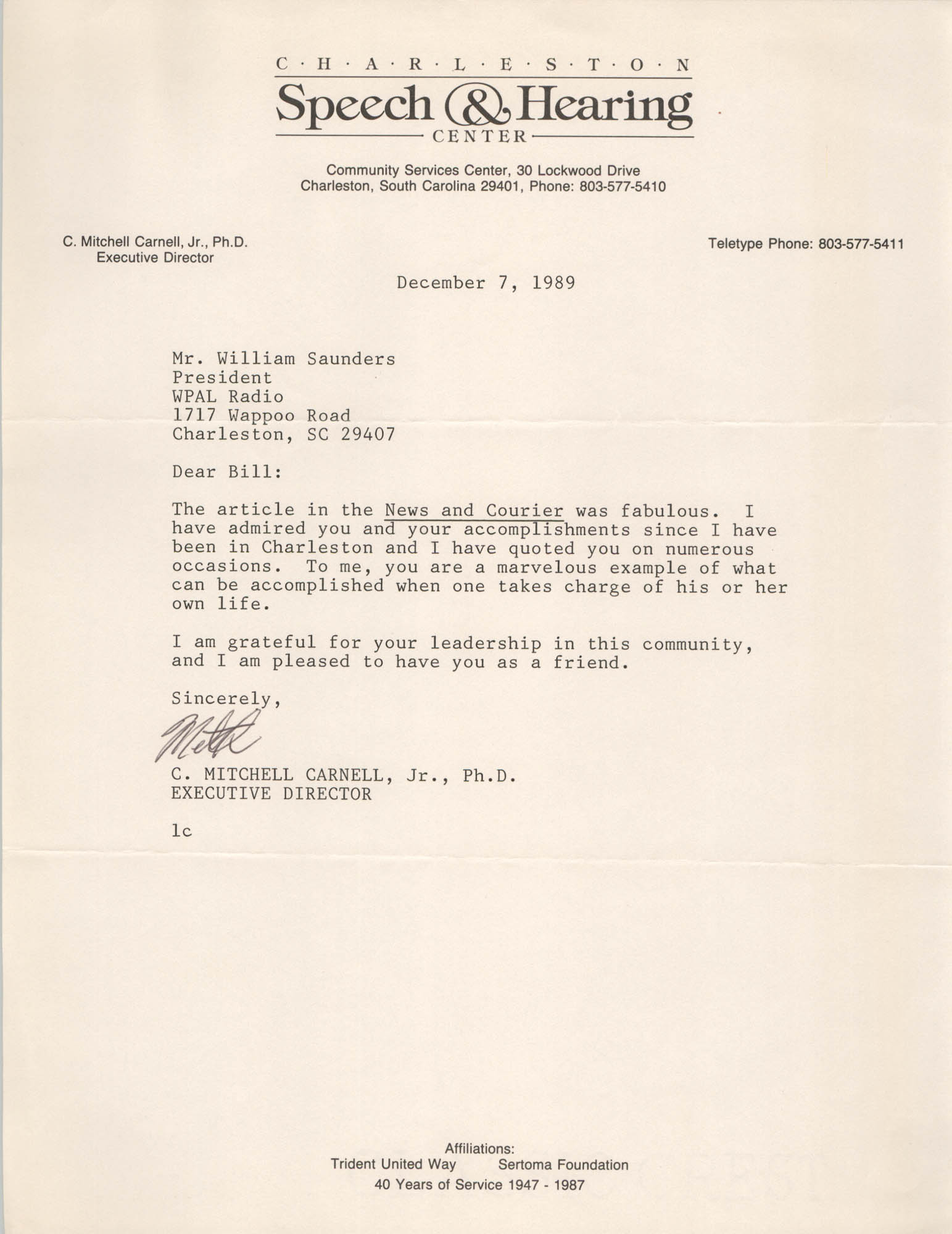 Letter from C. Mitchell Carnell, Jr. to William Saunders, December 7, 1989