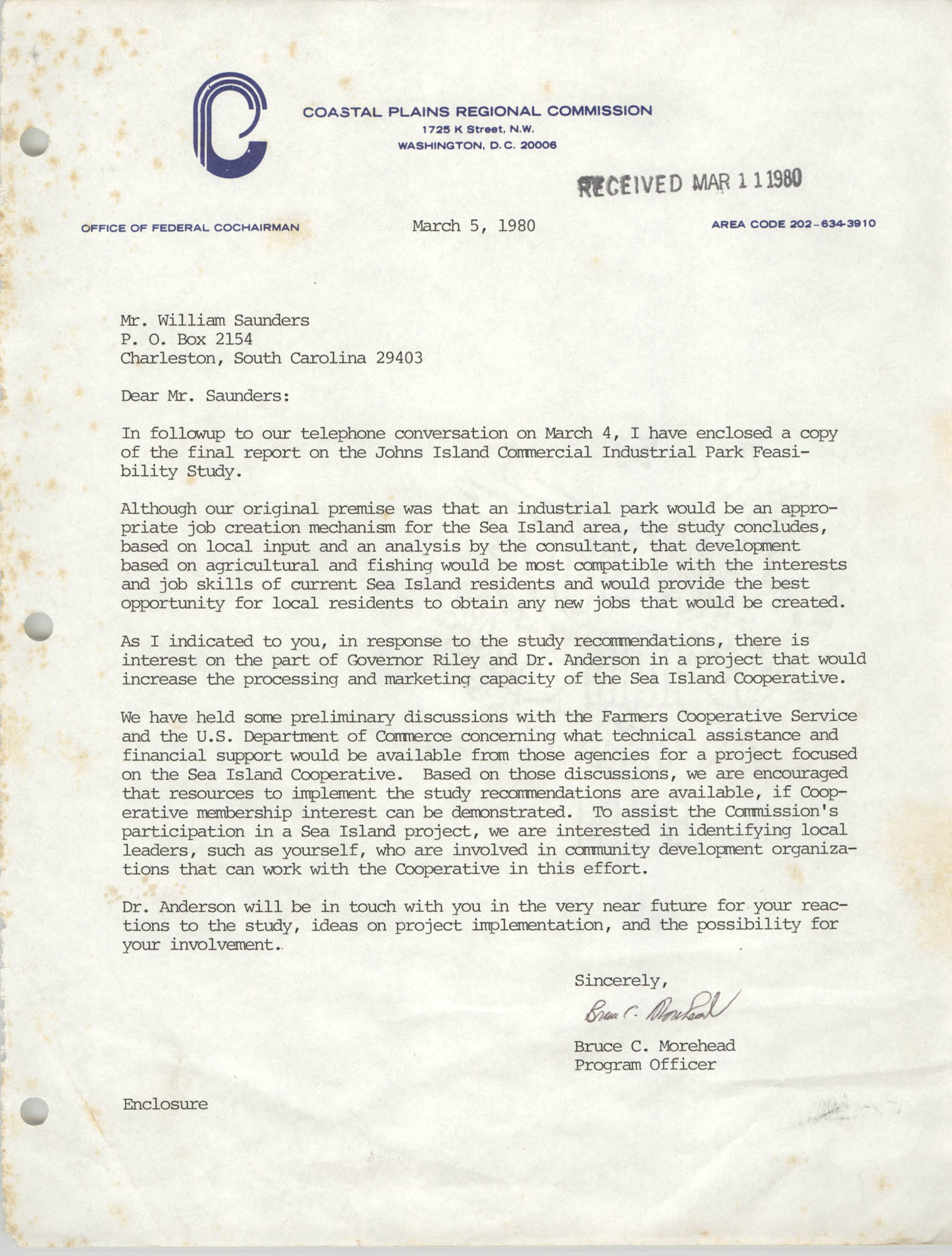 Letter from Bruce C. Morehead to William Saunders, March 5, 1980