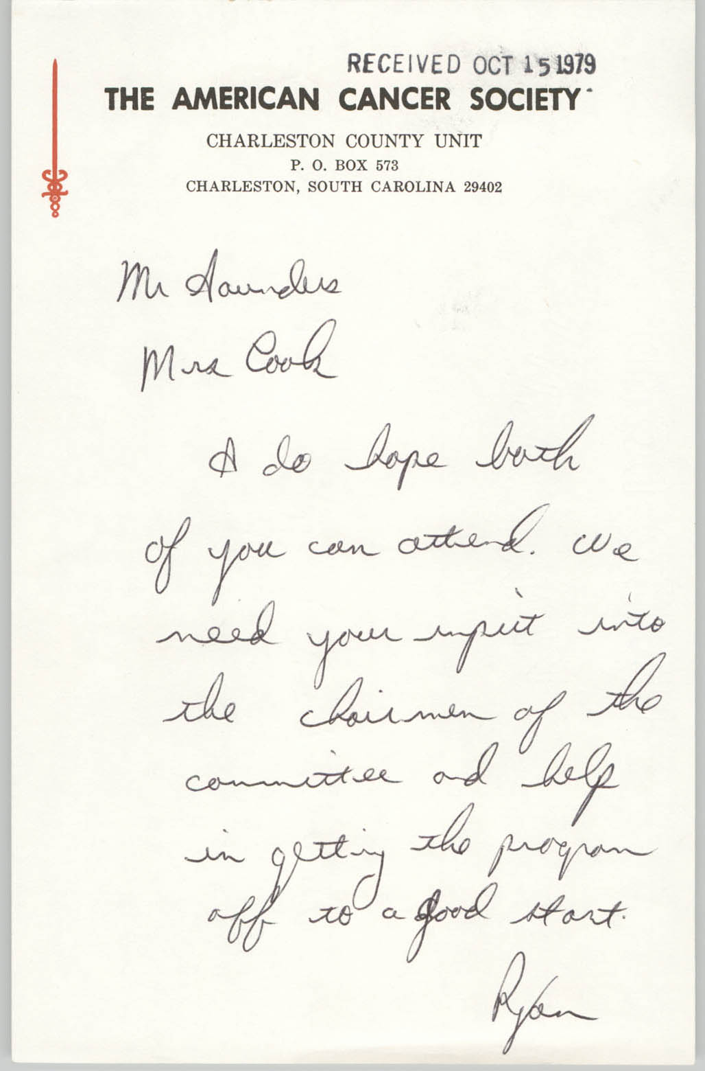 Letter from Ryan Palmer to William Saunders, October 15, 1979