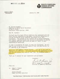 Letter from Earl F. Brown, Jr. to William Saunders, January 22, 1980