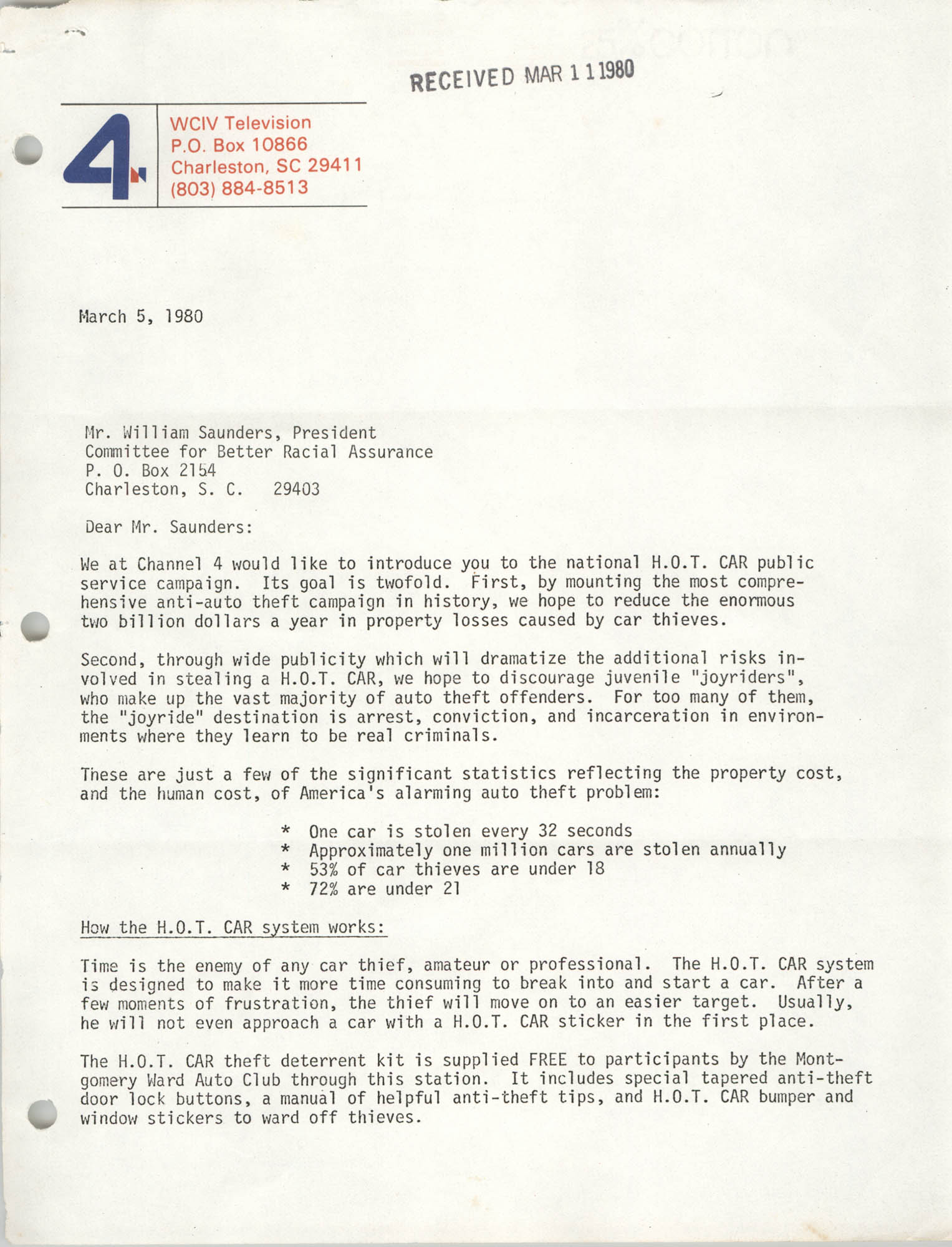 Letter from William E. Lucas and Celia Shaw to William Saunders, March 5, 1980