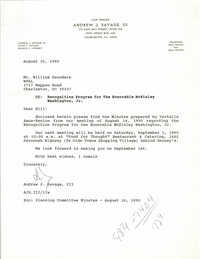 Letter from Andrew J. Savage, III to William Saunders, August 30, 1990