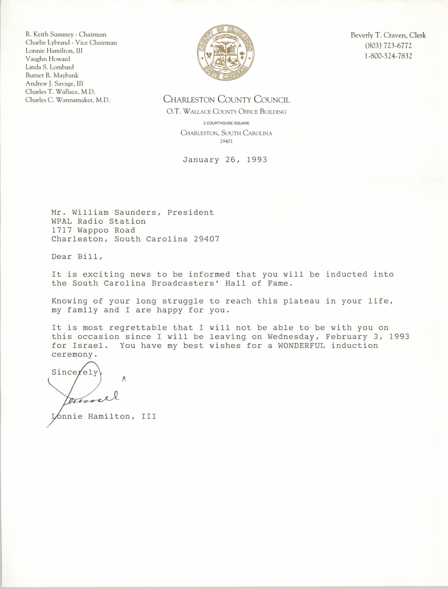 Letter from Lonnie Hamilton, III to William Saunders, January 26, 1993