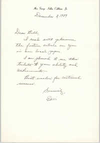 Letter from Edith Calliham to William Saunders, December 3, 1989