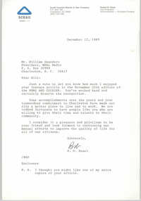 Letter from R. D. Hazel to William Saunders, December 12, 1989