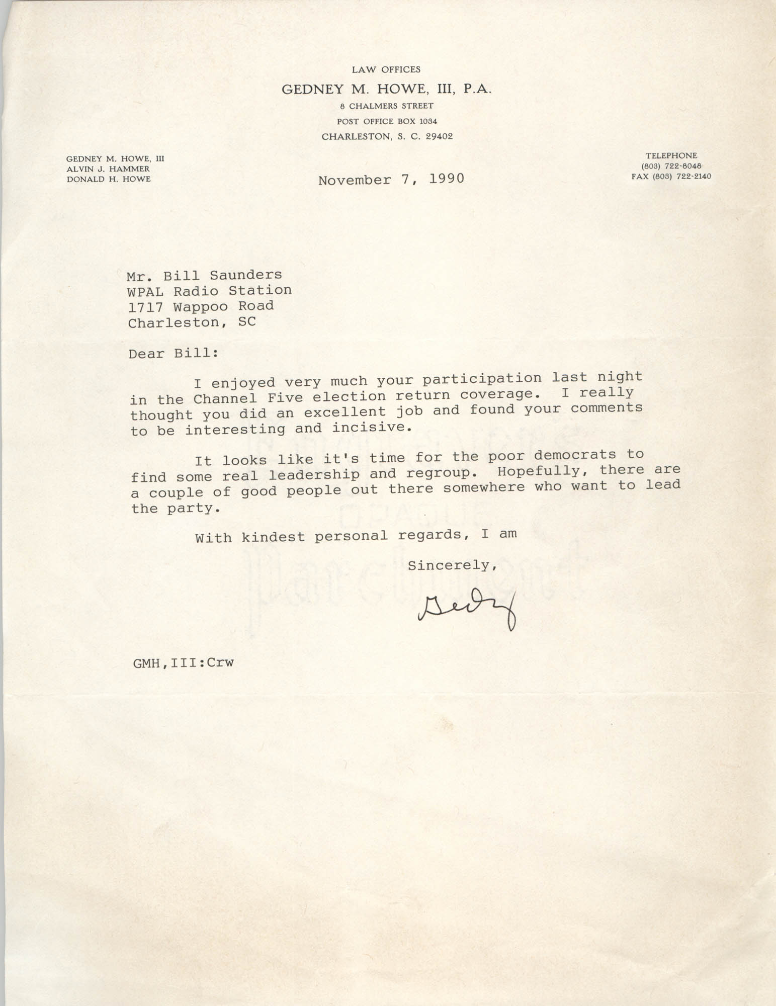 Letter from Gedney M. Howe, III to William Saunders, November 7, 1990