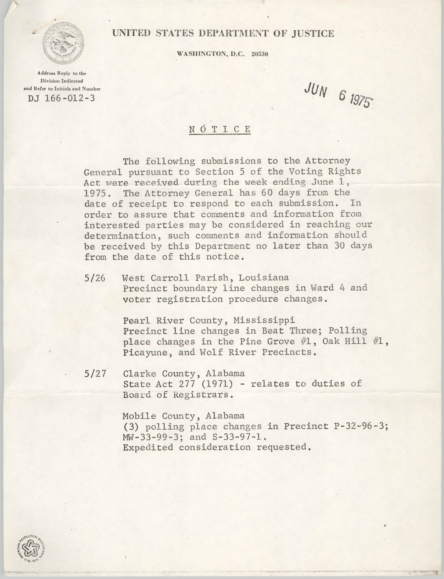 United States Department of Justice Notice, June 6, 1975