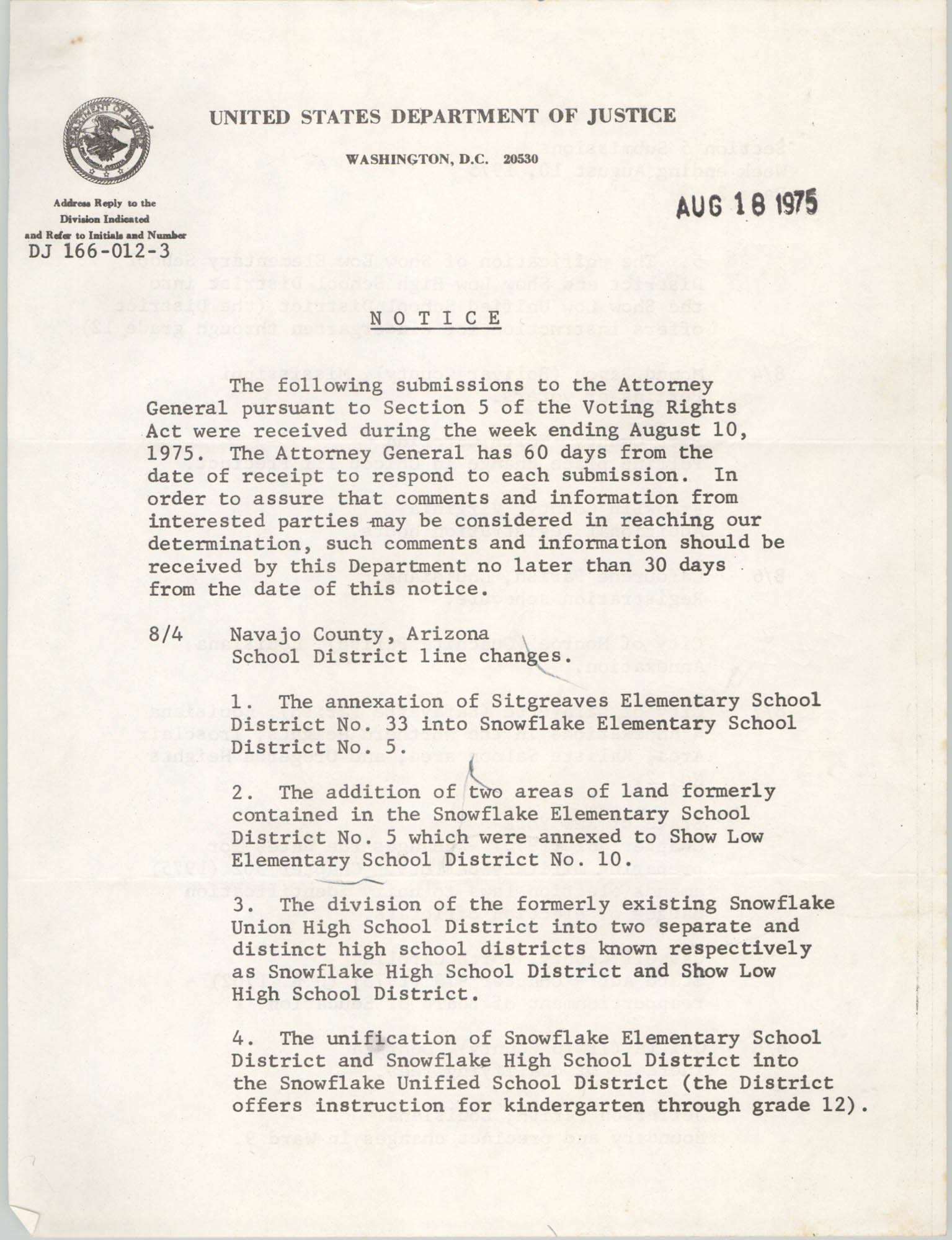 United States Department of Justice Notice, August 18, 1975
