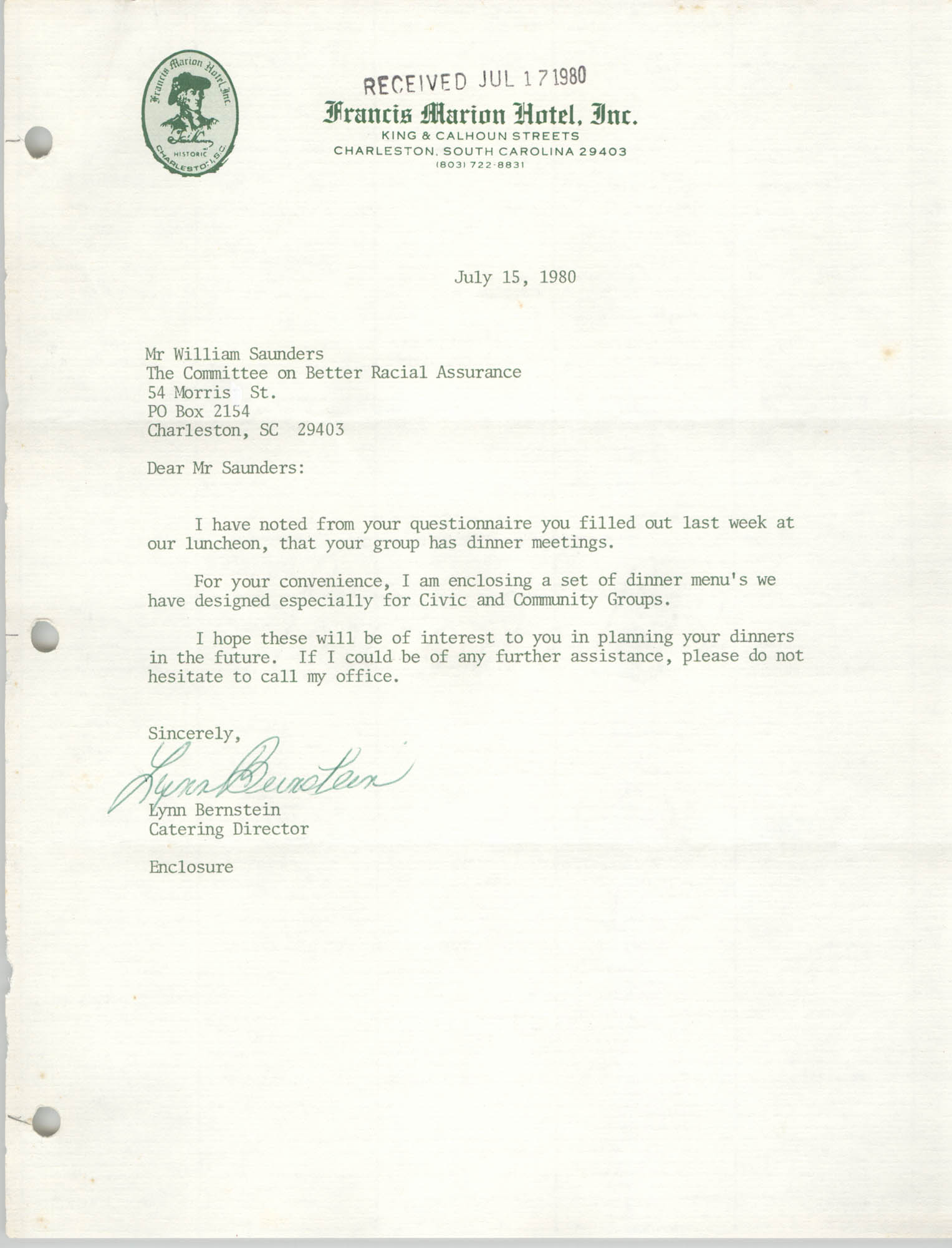 Letter from Lynn Bernstein to William Saunders, July 15, 1980