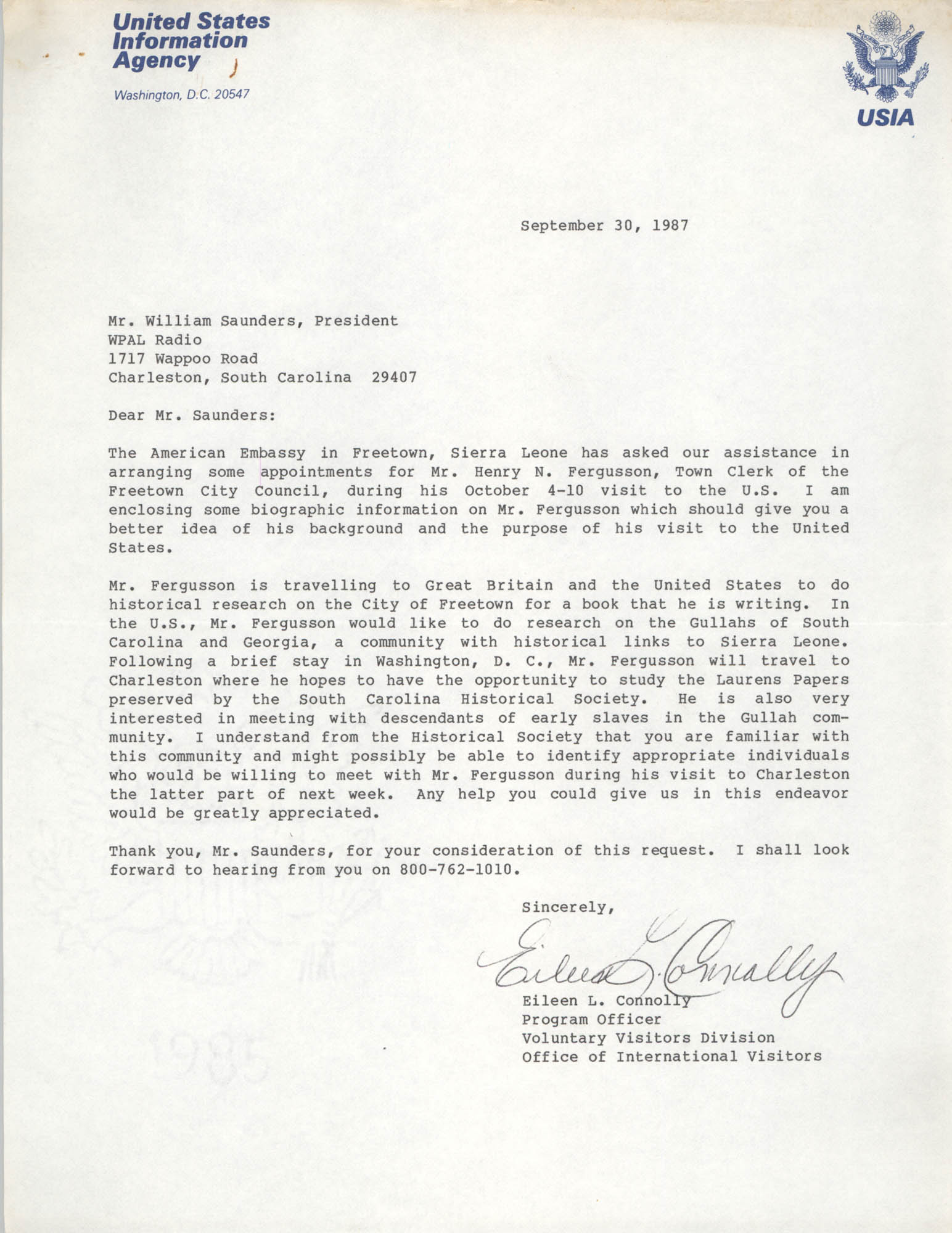 Letter from Eileen L. Connolly to William Saunders, September 30, 1987