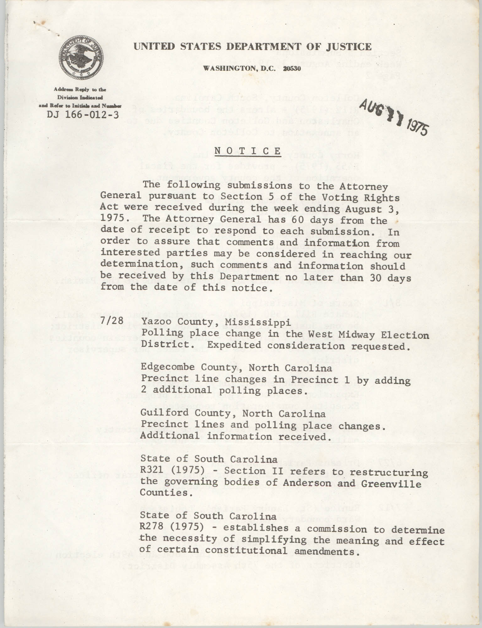 United States Department of Justice Notice, August 11, 1975