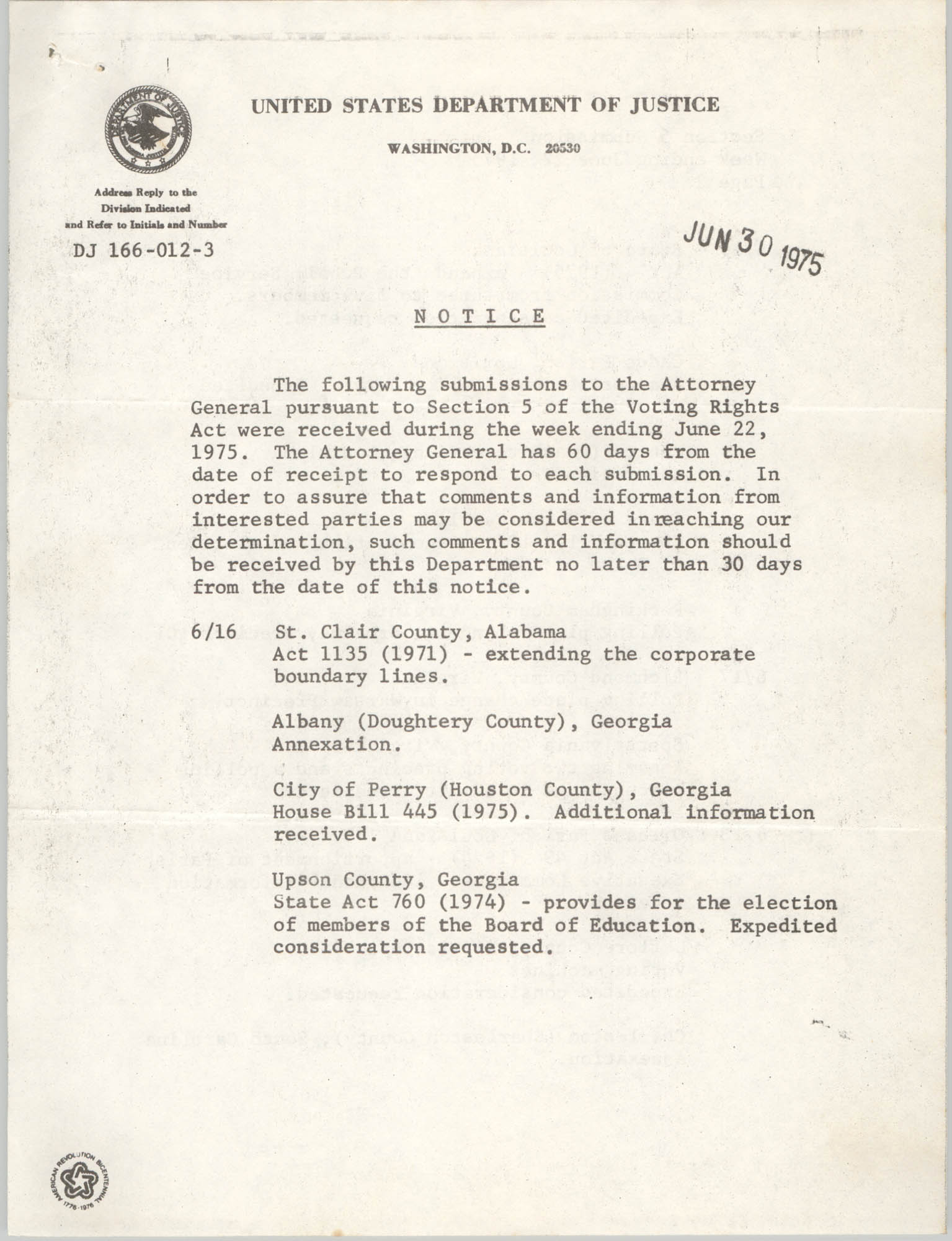United States Department of Justice Notice, June 30, 1975
