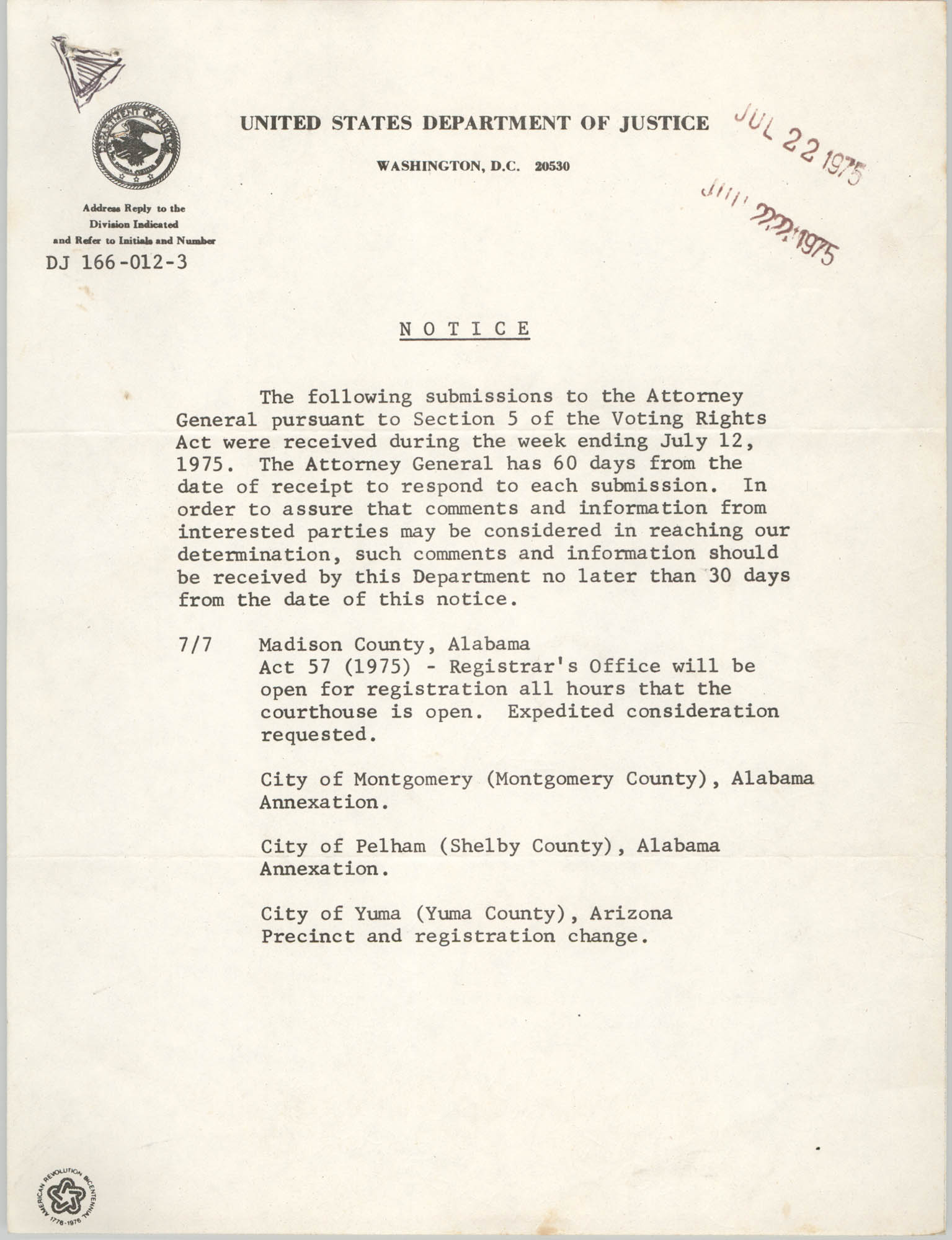 United States Department of Justice Notice, July 22, 1975