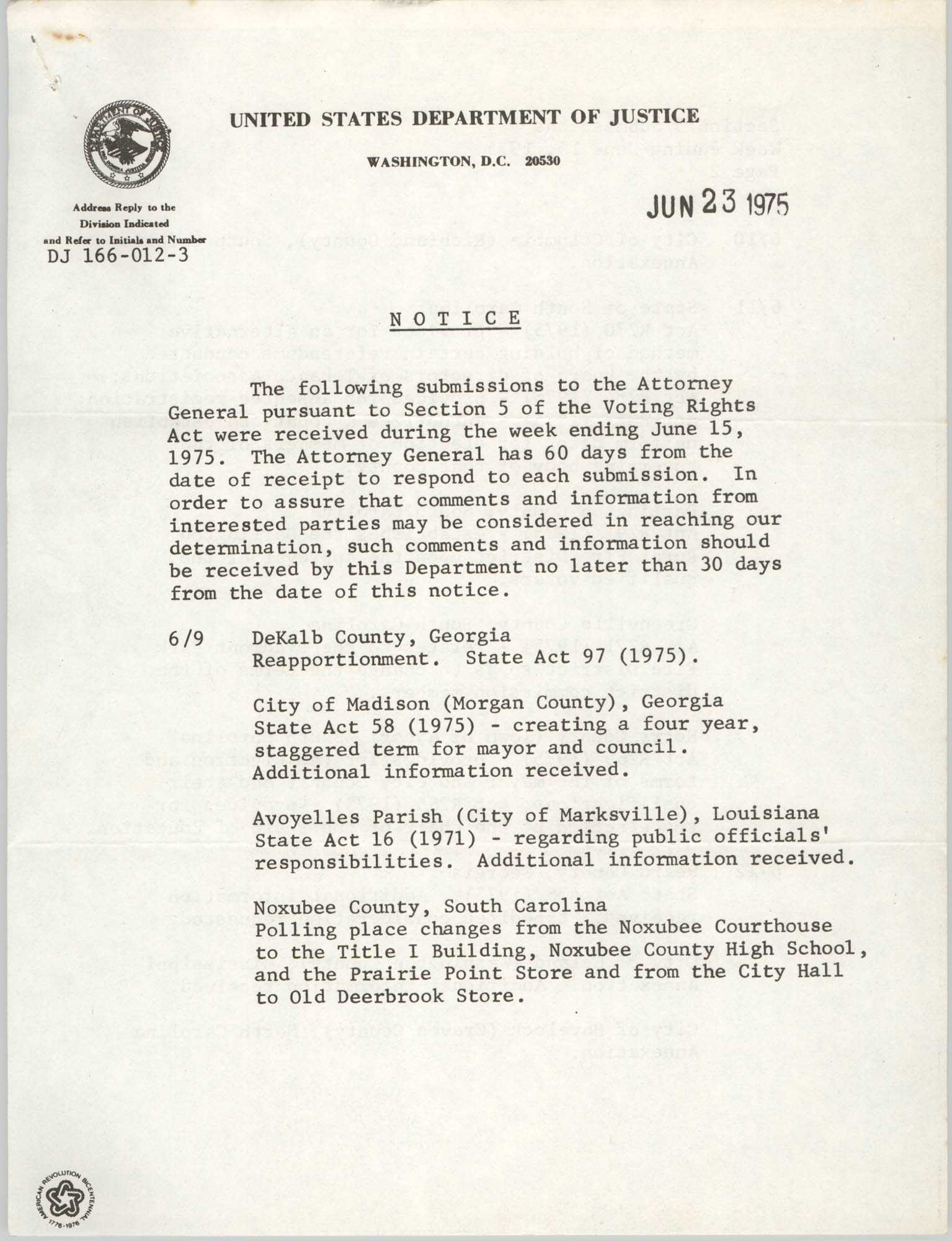 United States Department of Justice Notice, June 23, 1975