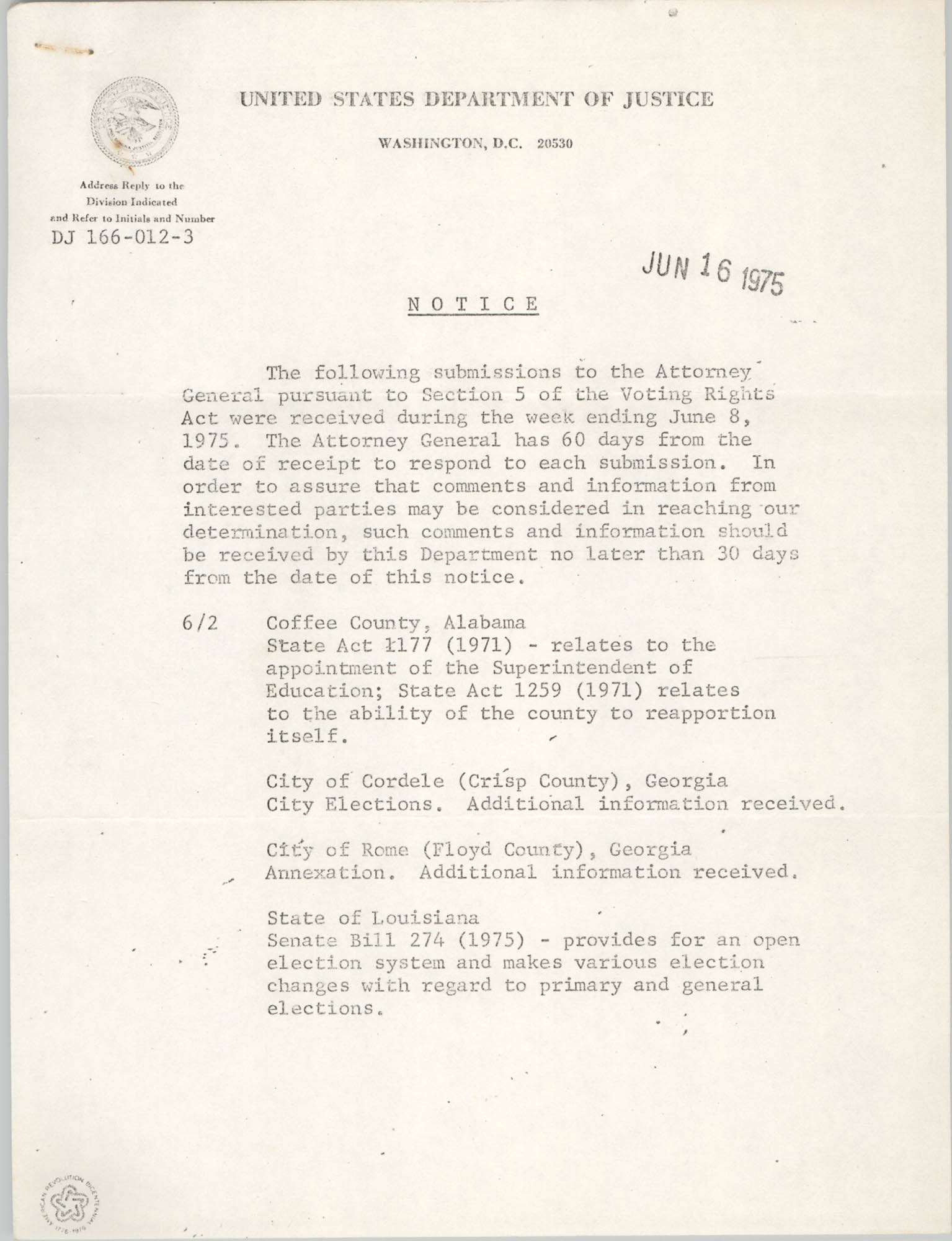 United States Department of Justice Notice, June 16, 1975