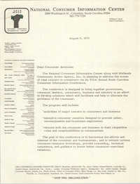 Letter from National Consumer Information Center, August 8, 1975