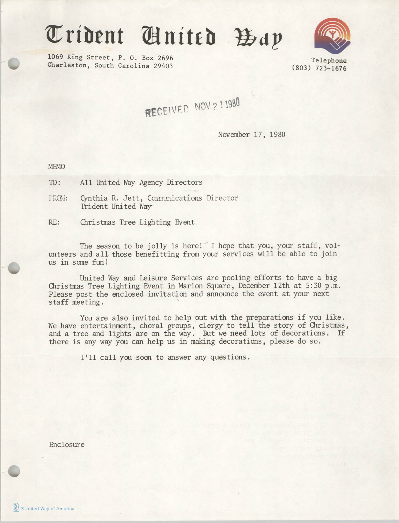 Trident United Way Memorandum, November 17, 1980